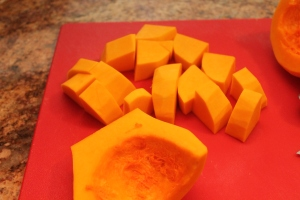 Peeled and cubed butternut squash ready for steaming.