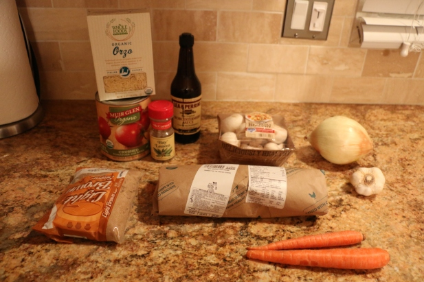 Ingredients for the Baby's First Spaghetti - I used whole wheat orzo instead of spaghetti noodles