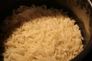 Cook Orzo without using salt about 7 minutes.