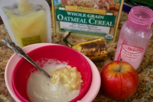 Organic Apples, Banana, Organic Earth's Best Oatmeal Cereal, Breast Milk or Formula