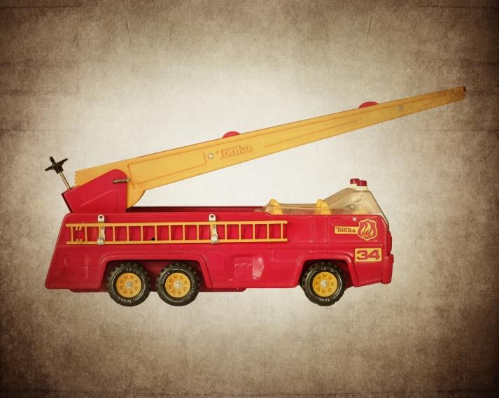 My husband's Tonka Fire Truck toy circa Christmas 1984.
