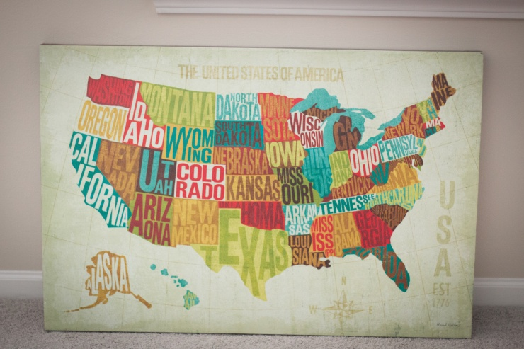 The United States of America Map will eventually hang above the nursing chair next to one of the closets.