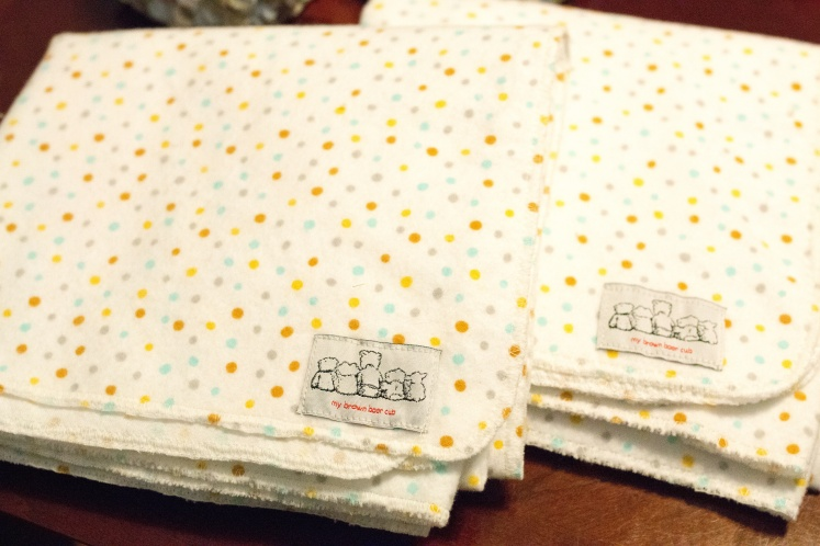 I made 100% organic cotton flannel hypo allergenic receiving blankets from material I ordered.