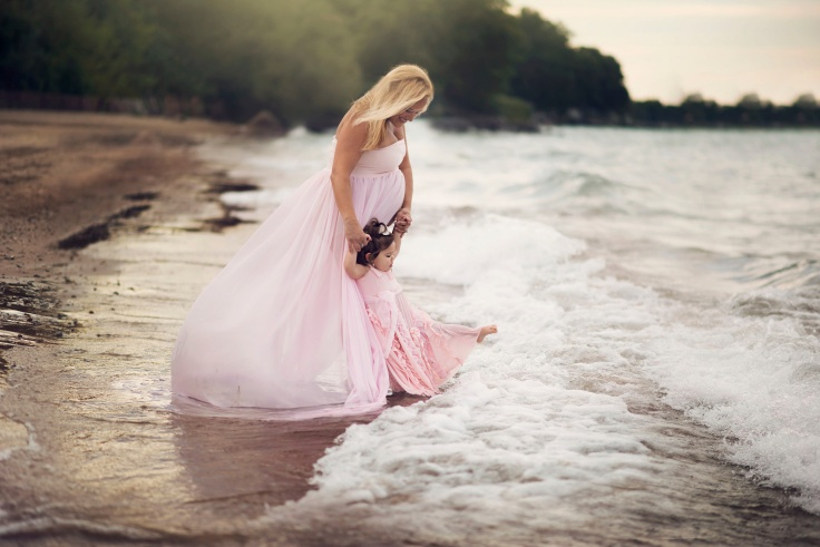 Lighthouse Beach, Evanston, IL ~  Just outside of Chicago. Liz Franco Photography, Chicago Fine Art Portrait Photographer. Toddler and Maternity dresses by Abby Bella Couture.